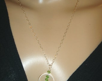 Sterling Silver and Green Peridot necklace-pendant August Birthstone handmade-metalsmith work