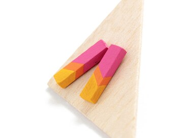 Geometric rod stud earrings - pink, yellow, orange - minimalist, modern hand painted wooden jewelry
