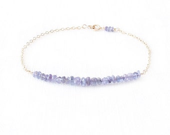Minimalist Gemstone Gold Filled Chain Bracelet - Tanzanite - Blue - The Skinny: Gemstone Bar