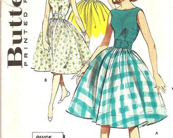 1960s Dress Pattern - 1960s Vintage Sewing Pattern - Full Skirt Dress Pattern - Retro Fashion Pattern - Butterick 9369