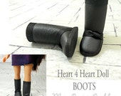 "Hearts for Hearts Doll Boots, Tall Boots, Black Boots, 14"" Doll Boots, fit Les Cheries Dolls"
