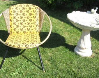 Vintage Atomic Saucer Chair Upcycled Space Age Peace Signs Mid Century Chair Jetsons