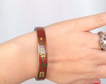 Vintage Cloisonné bangle Bracelet glass flower design Jewelry