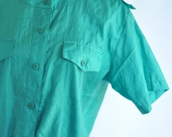 Vintage 80's emerald silk blouse classic shoulder pads military style