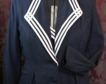 Hey Sailor Classic Vintage 80's Nautical style  Navy Blue Sailor Suit Dress