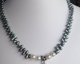 Necklace — Pewter Om Charm with Green Grey Freshwater Pearls, White Freshwater Pearls and Pewter Accents