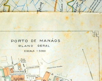 1922 Small and Tan and Old and Lovely Brazilian Map of the Port of Manaus, Amazonas, Brazil