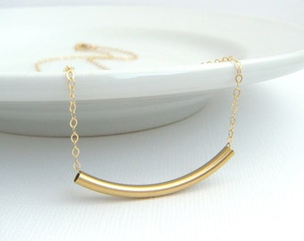 gold bar necklace. yellow 14K gold filled tube bead. delicate modern line gold necklace. simple everyday jewelry. ready to ship gift for her