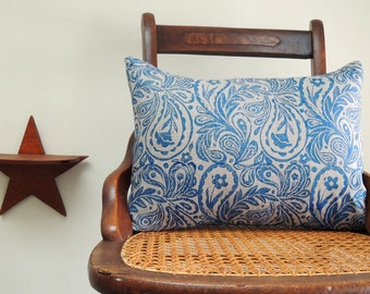 Dark blue paisley on natural gray brown hand block printed linen home decor decorative pillow cover your choice of size