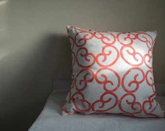 Barcelona modern coral and white linen decorative pillow cover colorful home decor hand block printed geometric cover