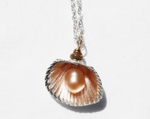 READY TO SHIP-Silver Shell, Pearl & Opal Necklace