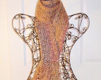Hand Crocheted Scarf - SUPER SOFT Homespun Yard in Sierra Sand - Women's Fashion Scarf, Woman's Apparel, Scarf, Scarves, Fashion Accessory