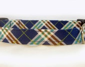 Handmade Adjustable Dog Collar Blue Brown Plaid