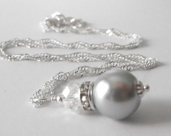 Gray Pearl Bridesmaid Jewelry, Simple Beaded Pendant, Wedding Party Necklaces, Grey Bridal Jewellery in Silver, Avalon