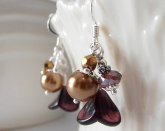 Bead Cluster Earrings, Plum And Bronze Matching Bridesmaid Jewelry Sets, Handmade Flower Beaded Dangles, Pearl And Crystal, Fall Weddings