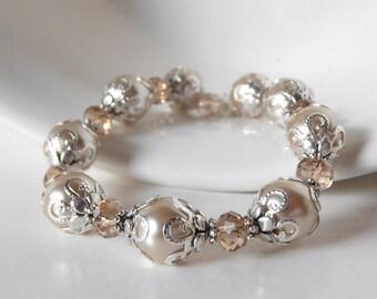 Beige Pearl Bridal Jewelry, Fancy Wedding Pearl Bracelet, Beaded Champagne Bridesmaid Bracelets, Beige Bridesemaid Jewelry Gift