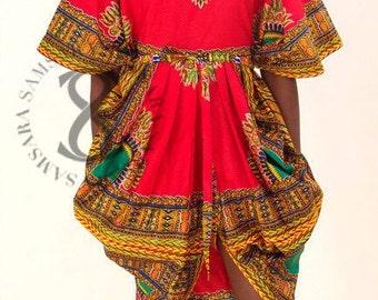 Dashiki Flora Tribal Scalloped Dress