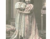 DOLLY and Me - Cute Edwardian Girl and Her Life Size Porcelain DOLL - Hand Tinted Real PHOTO Postcard