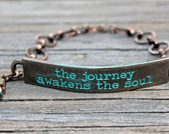 the journey awakens the soul, Stamped Jewelry, Quote Jewelry, Quote Bracelet, gifts with meaning, Jewelry with meaning, word jewelry