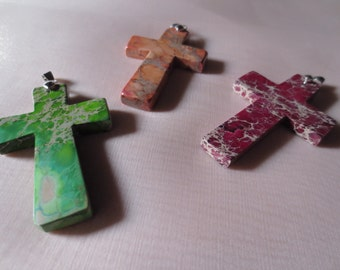 Cross Pendant in Burgundy Claret Stone for Jewelry Design, Tribal Fusion, Bellydance