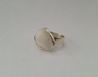 Shell Ring, White Clam Shell Ring made with Sterling Silver - Shell Collection