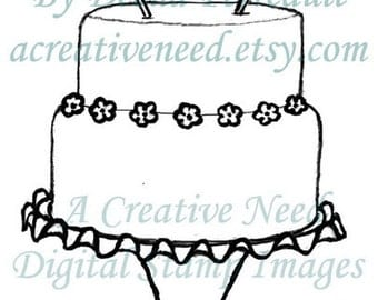INSTANT DOWNLOAD Digital Stamp Image Celebrate with CAKE