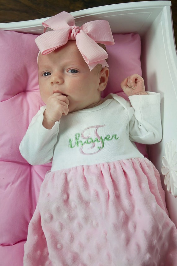Items similar to Monogrammed Minky Dot Layette Gown ...