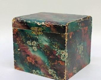 30's Antique Celluloid Collar Box with Collars / Vanity Case / Trinket Dresser Box