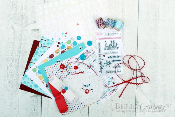 SALE New Embellishment Kit - Aqua, Red & White Combo Kit - June Embellishment Kit - Card Kit - Scrapbook Embellishement Kit