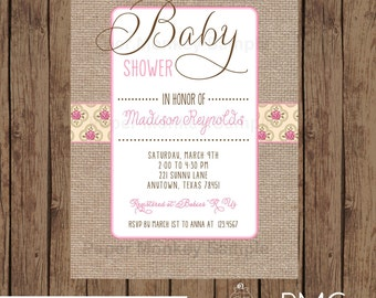 Great Custom Printed Floral Burlap Baby Shower Invitations   1.00 Each With  Envelope