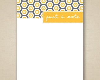 CLEARANCE - 10 Sunny Yellow and Gray Honeycomb - Pippa Notecards