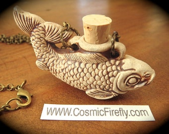 Fish Necklace Ceramic Fish Bottle Necklace Nautical Jewelry Urn Necklace Brown Stoneware Small Bottle Mermaid Jewelry Brass Rolo Chain