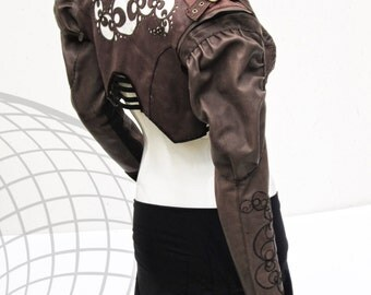 Leather Fractal Jacket, Detaching Sleeves with Victorian Flare