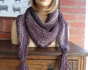 PURPLE TWILIGHT soft wool blend triangle shoulder wrap scarf shawl by irish granny