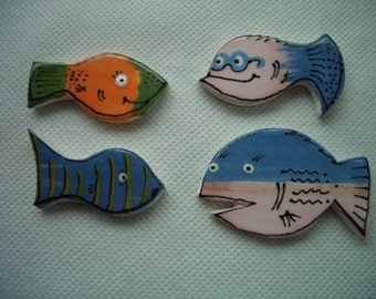 4HP - Set of 4 FUNNY FISHIES - Ceramic Mosaic Tiles