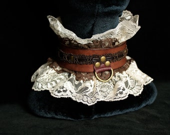 Lace & Leather Steampunk Slave Collar- Victorian Ruffle Choker, Romantic Fetish Brown Leather / Lace brass collar w/ corset lacing bdsm Sub