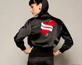 Satin Bomber Jacket, Tattoo Jacket, Black Ladies Jacket, Retro Style Jacket, Zip Front Jacket, Casual Jacket with Motif Back, Sizes:S/M/L