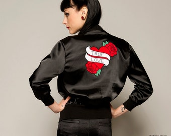 Satin Bomber Jacket, Tattoo Jacket, Black Ladies Jacket, Retro Style Jacket, Zip Front Jacket, Casual Jacket with Motif Back, Sizes:S/M/L