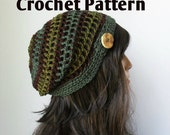 DIY Crochet 2in1 Pattern  for Mesh Slouchy or Not Hat, Tam, Toque, beanie, button hat, woodland