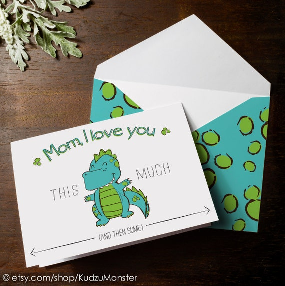 INSTANT DOWNLOAD cute dinosaur Mother's Day card print at home t-rex I love you this much funny kids card blue and green dino spots envelope