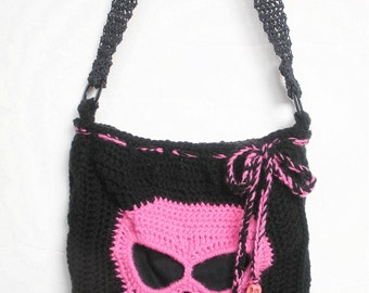 Pink Skull  Crochet Shoulder Purse in Black with Pink Leopard Print Lining, ready to ship.