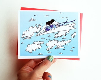 Paper Plane Card - Whimsical Blank Greeting Card with Envelope