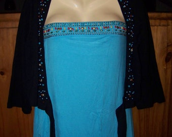 Plus Size Shrug, Plus Size 1X Tube Top, Seperates, Beaded Tube Top, Black Beaded Shrug, Turquoise Beads
