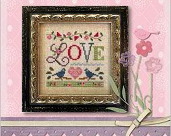 Lizzie Kate - A Little Love K56 - Counted Cross Stitch Pattern Chart with Linen and Embellishments