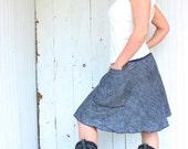 Organic Denim Short Passport Pocket Skirt - Hemp and Organic Cotton - Eco Fashion