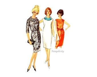1960s Sheath Dress Pattern Simplicity 5356, Bust 32, One Piece Dress with Scarf, Vintage Sewing Patterns