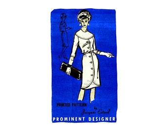 60s Coat Dress Pattern Prominent Designer A640 by Jacques Esterel, Underskirt, Yoke Bodice, Bust 32, Uncut Vintage Mail Order Pattern