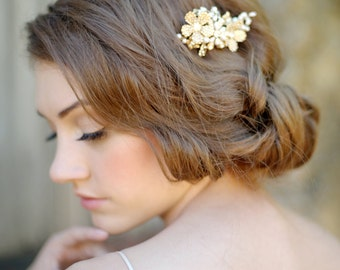 Gold floral hair comb, bridal headpiece, gold, crystal comb, bridal - style 1114 - FREE SHIPPING*