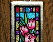 Glitter Stained Glass Art Tulip Pendant