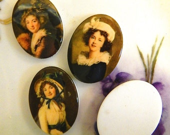Vintage Portait Cabochon 30x40mm Buy all 3 and Save